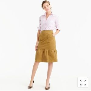 J. Crew Garment Dyed Chino Ruffled Skirt